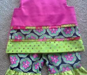 Fuchsia Ruffle Pants and Sleeveless Blouse
