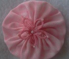 Pink Tatting Flower, Yo-Yo Hair Clip